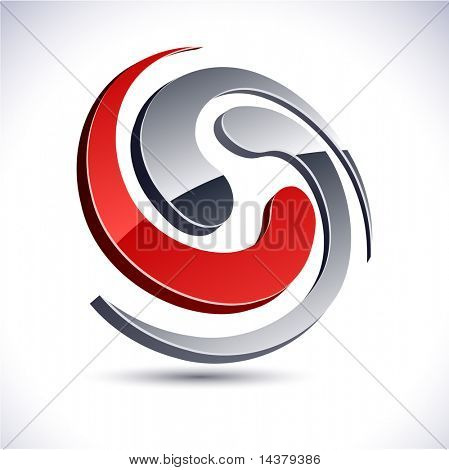 Abstract modern 3d swirl  emblem. Vector.