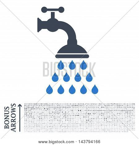 Shower Tap icon with 1200 bonus arrow and navigation pictograms. Vector illustration style is flat iconic bicolor symbols, smooth blue colors, white background.