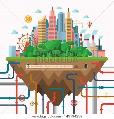 Big city concept illustration in flat style. Urban landscape with business center, park, industrial area, underground communications.