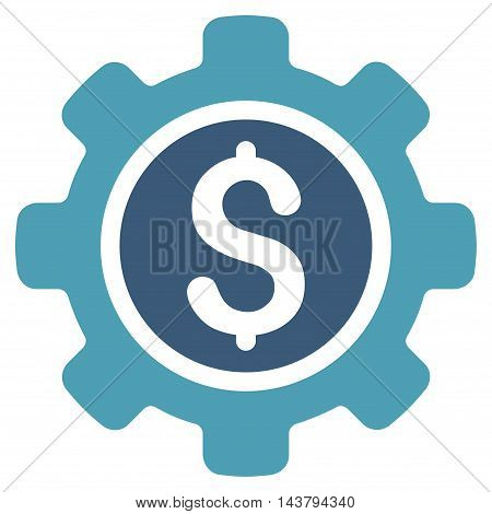 Financial Tools icon. Vector style is bicolor flat iconic symbol with rounded angles, cyan and blue colors, white background.