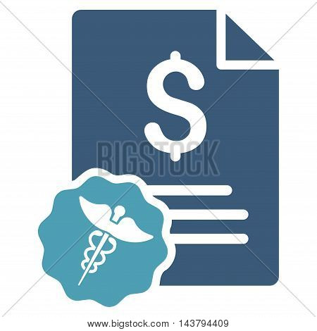 Medical Invoice icon. Vector style is bicolor flat iconic symbol with rounded angles, cyan and blue colors, white background.