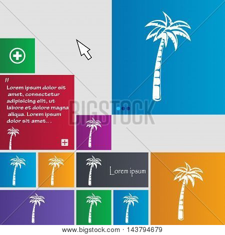 Palm Icon Sign. Buttons. Modern Interface Website Buttons With Cursor Pointer. Vector