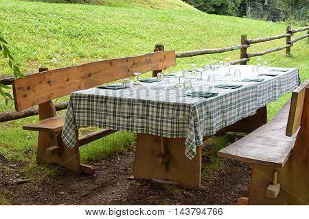 Countryside lunch on a rustic table and bench laid with a pretty green tablecloth and mats at the edge of a lush green lawn in the shade of a tree