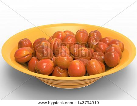 3d illustration of bowl with nectarines and peaches. white background isolated. icon for game web. with shadow. empty without anything. juicy fruits. summer vitamins. healthy food.