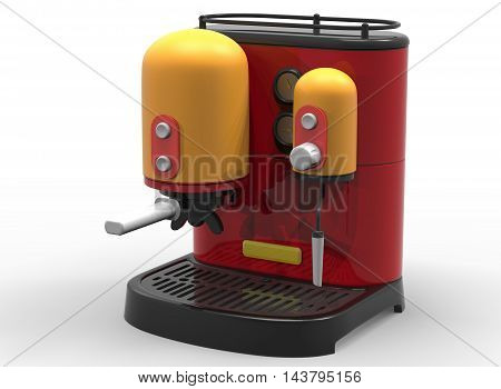 3d illustration of coffee machine. white background isolated. icon for game web.