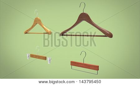 3d illustration of hangers. green background isolated. icon for game web.