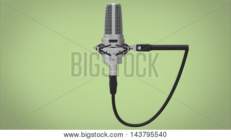 3d illustration of vintage old microphone. green background isolated. icon for game web. tool for singers.