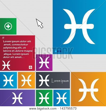 Pisces Zodiac Sign Icon Sign. Buttons. Modern Interface Website Buttons With Cursor Pointer. Vector