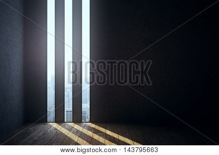 Abstract dark empty room interior with concrete walls wooden floor and three thin liniar windows revealing city view. 3D Rendering