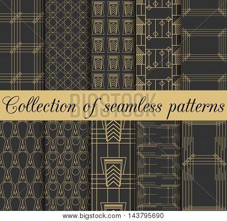 Art Deco Seamless Patterns. Set Of Ten Geometric Backgrounds. Style 1920's, 1930's. Vector Illustrat