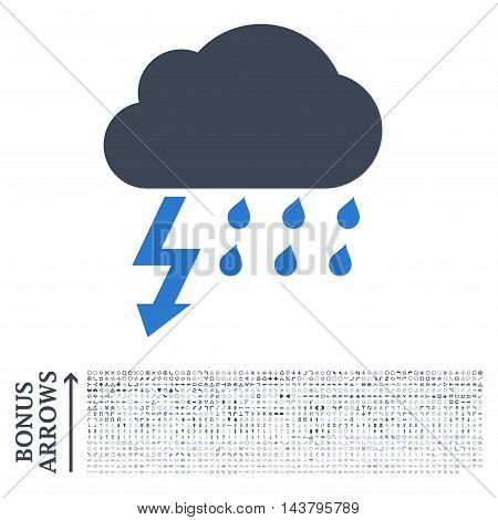 Thunderstorm icon with 1200 bonus arrow and direction pictograms. Vector illustration style is flat iconic bicolor symbols, smooth blue colors, white background.