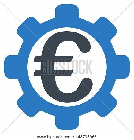 Euro Options icon. Vector style is bicolor flat iconic symbol with rounded angles, smooth blue colors, white background.