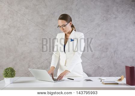 Young Lady Using Laptop