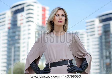 beautiful young woman walking in Riga