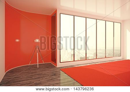 Bright red interior design with floor lamp window with city view and daylight. 3D Rendering