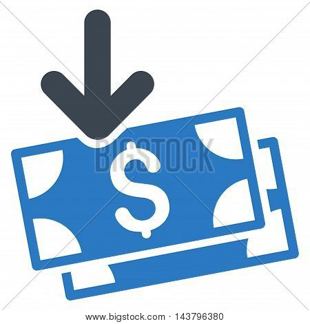 Get Banknotes icon. Vector style is bicolor flat iconic symbol with rounded angles, smooth blue colors, white background.