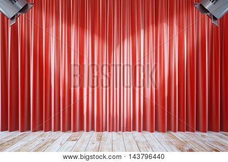 Front view of empty red curtains and wooden floor with two spotlights. Stage interior. Mock up 3D Rendering