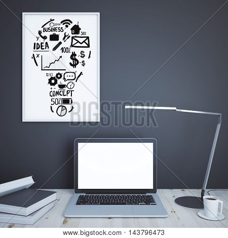 Creative designer desktop with blank white laptop books coffee cup table lamp and business idea sketch on concrete wall background. Mock up 3D Rendering
