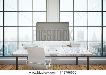 Office interior with blank pc monitor on wooden desktop with coffee cup books and other items. Framed window with city view in the background. Mock up 3D Rendering