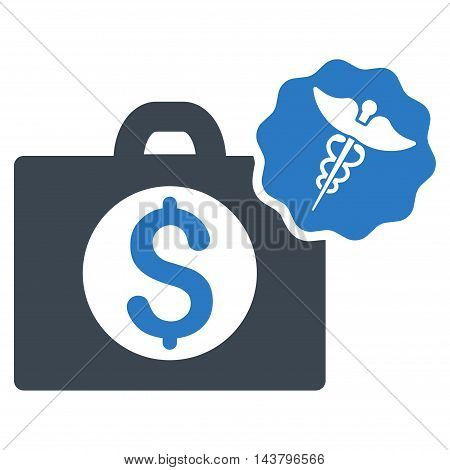Medical Business icon. Vector style is bicolor flat iconic symbol with rounded angles, smooth blue colors, white background.