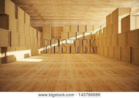 Spacious wooden warehouse interior with multiple storage containers. 3D Rendering