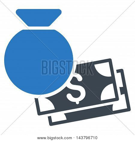Money Bag icon. Vector style is bicolor flat iconic symbol with rounded angles, smooth blue colors, white background.