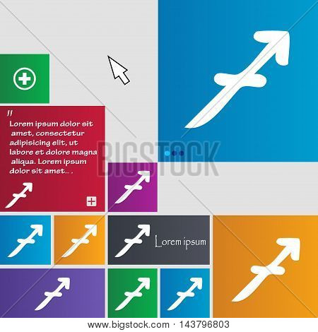 Sagittarius Icon Sign. Buttons. Modern Interface Website Buttons With Cursor Pointer. Vector