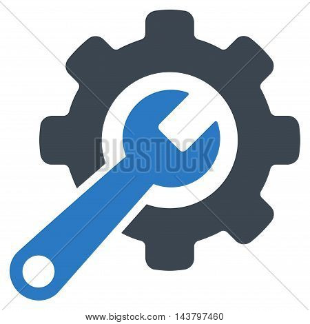 Tools icon. Vector style is bicolor flat iconic symbol with rounded angles, smooth blue colors, white background.