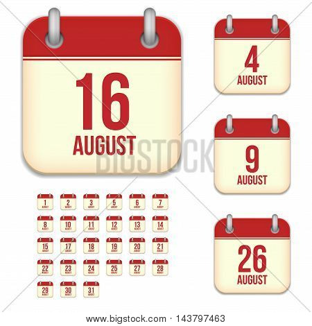 August tear-off calendar vector icons set isolated on white background. Square shape reminder sign for every day.