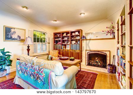 Cozy Craftsman Living Room Interior With Fireplace