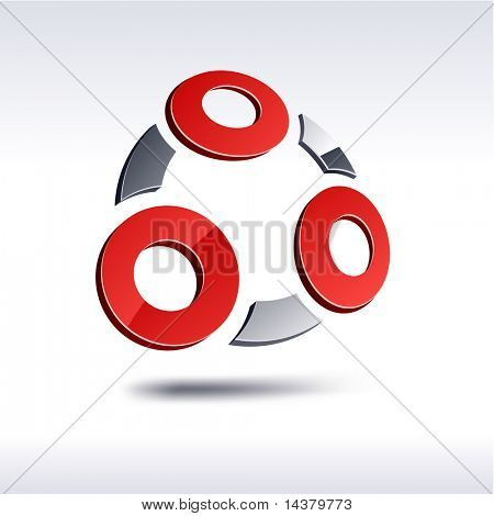 Abstract modern 3d UA emblem. Vector.