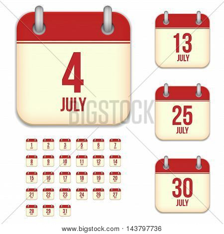 July tear-off calendar vector icons set isolated on white background. Square shape reminder sign for every day.