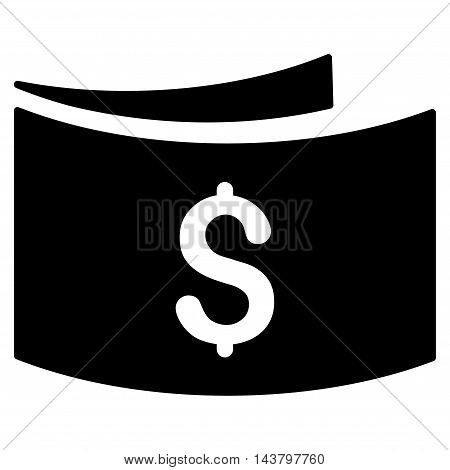 Banknotes icon. Vector style is flat iconic symbol with rounded angles, black color, white background.