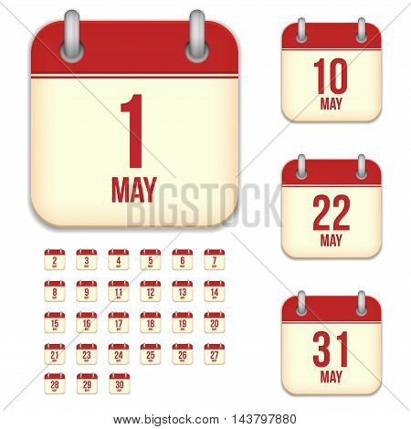 May tear-off calendar vector icons set isolated on white background. Square shape reminder sign for every day.