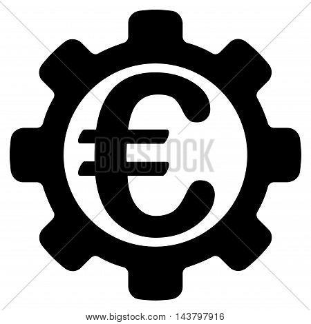 Euro Options icon. Vector style is flat iconic symbol with rounded angles, black color, white background.