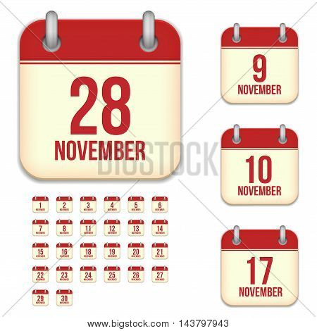 November tear-off calendar vector icons set isolated on white background. Square shape reminder sign for every day.