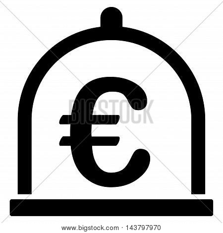 Euro Storage icon. Vector style is flat iconic symbol with rounded angles, black color, white background.