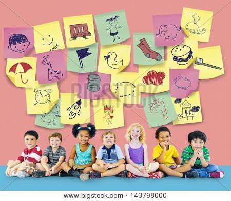 Preschool Art Doodles Creativity Concept