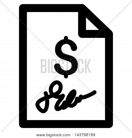 Invoice Page icon. Vector style is flat iconic symbol with rounded angles, black color, white background.