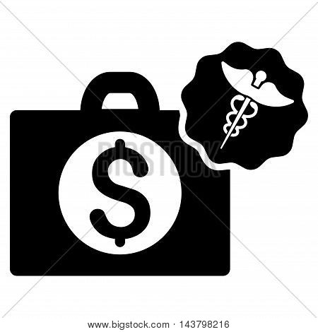 Medical Business icon. Vector style is flat iconic symbol with rounded angles, black color, white background.