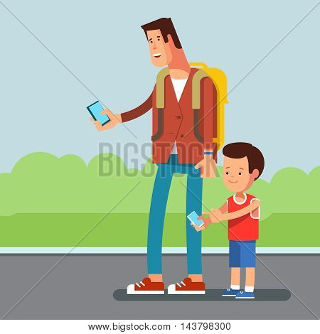 Vector flat illustration of young urban people with phone in hands, and modern clothes. Teenager man kid talking on phone or write a message, playing city street popular video game phone background.