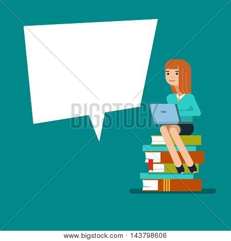 Young teen woman or student sitting on a stack of book with laptop next to the poster . Vector illustration flat design isolated on blue background for educational posters.