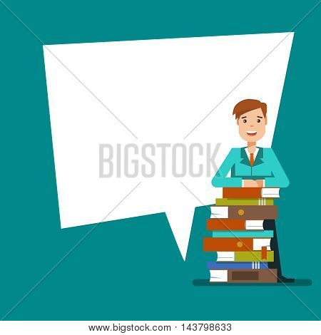 Young teen man or student standing with stack of book next to the poster . Vector illustration flat design isolated on blue background for educational posters.