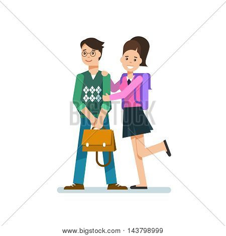Couple school children or student posing isolated in white