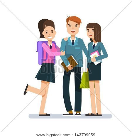 School children group with book in their hands or student posing isolated in white