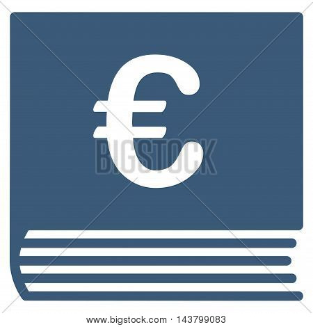 Euro Sales Book icon. Vector style is flat iconic symbol with rounded angles, blue color, white background.