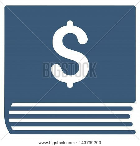 Sales Book icon. Vector style is flat iconic symbol with rounded angles, blue color, white background.