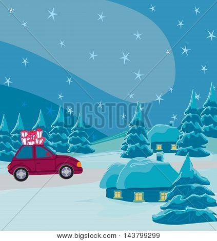 car with christmas gift box on winter landscape , vector illustration