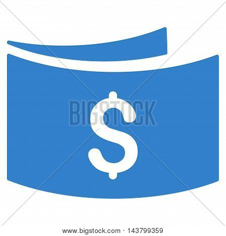 Banknotes icon. Vector style is flat iconic symbol with rounded angles, cobalt color, white background.