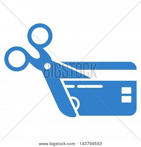Cut Credit Card icon. Vector style is flat iconic symbol with rounded angles, cobalt color, white background.